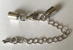 Silverfärgade lås 3 mm med runda fästen, 10 st