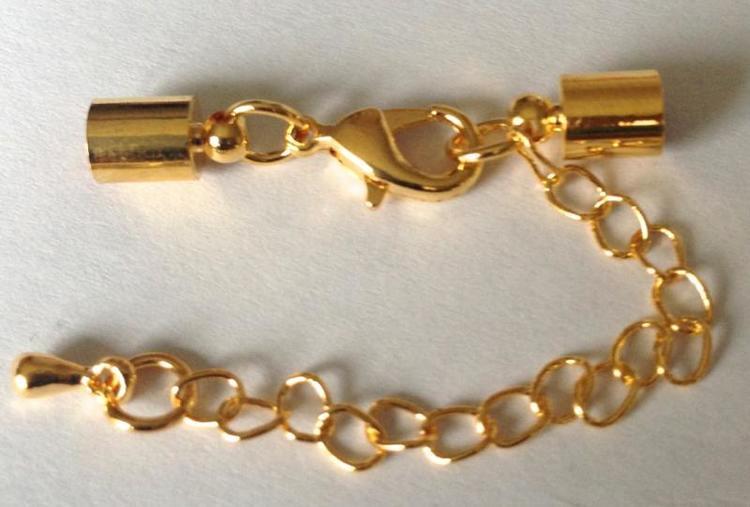 Guldfärgade lås 3 mm med runda fästen, 10 st