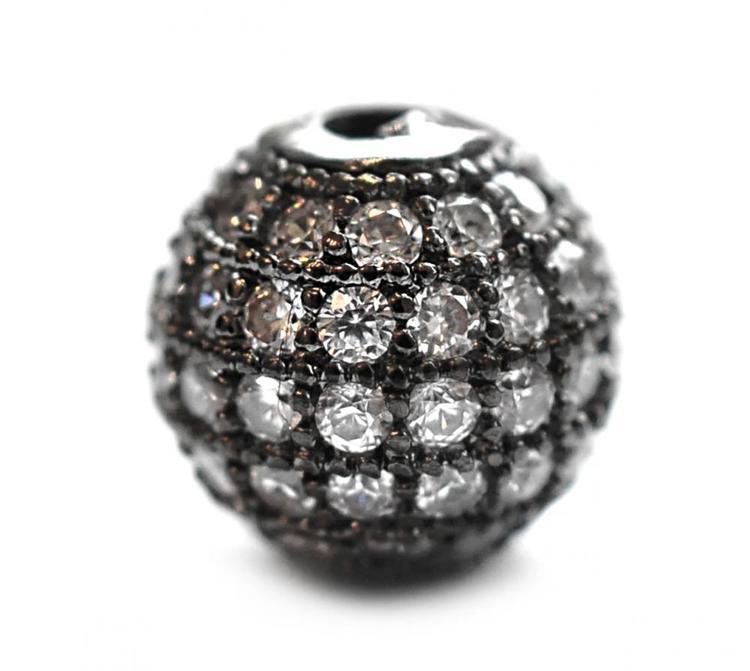 Strasspärla svart 8 mm, 1 st