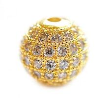 Strasspärla guld 6 mm, 1 st