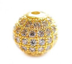 Strasspärla guld 8 mm, 1 st