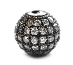 Strasspärla svart 6 mm, 1 st