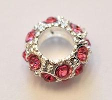 Silverfärgad strassdonut 10 mm rosa, 1 st