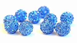 Strasskula 10 mm ljusblå, 1 st