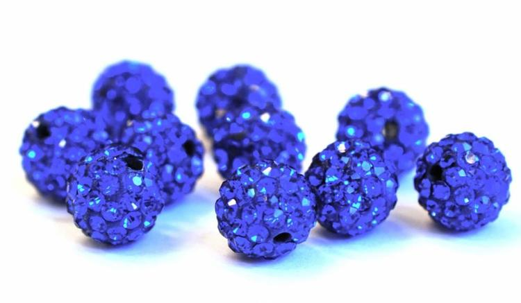 Strasskula 8 mm blå, 1 st
