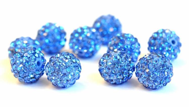 Strasskula 8 mm ljusblå, 1 st