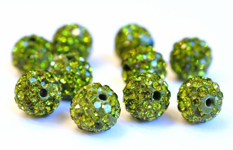 Strasskula 6 mm, oliv, 1 st