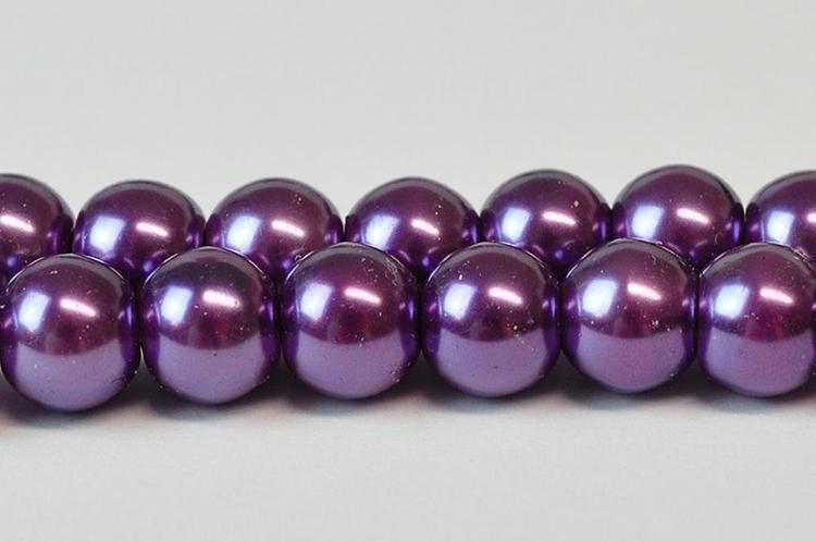 Vaxade glaspärlor 8 mm mörklila, 1 sträng