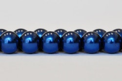 Vaxade glaspärlor mörkblå 8 mm, 1 sträng