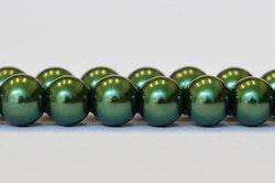Vaxade glaspärlor mörkgröna 8 mm, 1 sträng