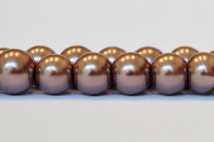 Vaxade glaspärlor 8 mm nougat, 1 sträng