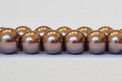 Vaxade glaspärlor nougat 8 mm, 1 sträng