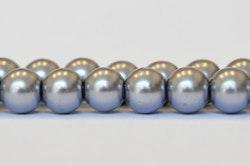 Vaxade glaspärlor 8 mm ljusgrå, 1 sträng