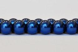 Vaxade glaspärlor mörkblå 6 mm, 1 sträng