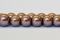 Vaxade glaspärlor nougat 6 mm, 1 sträng
