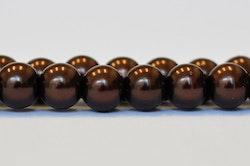 Vaxade glaspärlor 6 mm mörkbruna, 1 sträng