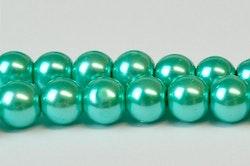Vaxade glaspärlor 6 mm blågrön, 1 sträng