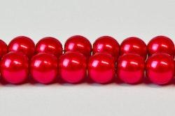 Vaxade glaspärlor röda 6 mm, 1 sträng
