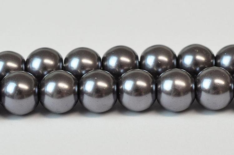 Vaxade glaspärlor 6 mm mörkgrå, 1 sträng