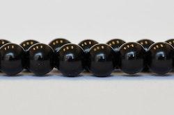 Vaxade glaspärlor 4 mm svarta, 1 sträng