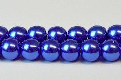 Vaxade glaspärlor 4 mm blå mm, 1 sträng