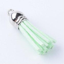 Tofs 35 mm ljusgrön med silverkåpa, 10 st
