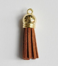 Tofs 35 mm brun med guldkåpa, 1 st