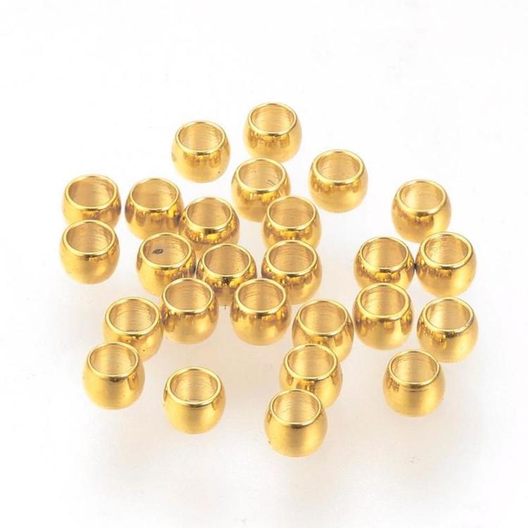 Guldfärgat rostfritt stål klämpärlor 2 mm, ca 50 st