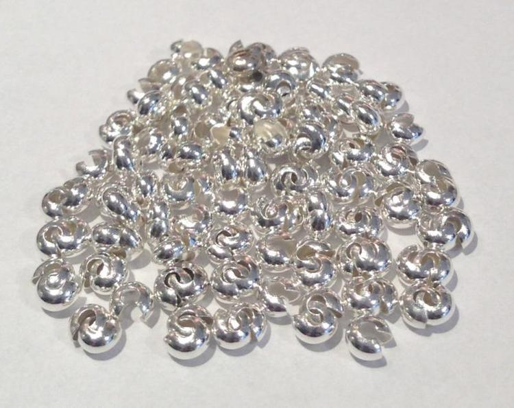 Silverfärgade knutgömmor 3 mm, ca 100 st