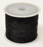 Svart elastisk flat tråd 0.8, 10 m