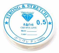 Vit elastisk rund tråd 0.5 mm, 1 rulle