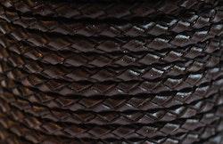 Flätat lädersnöre mörkbrunt 3 mm, 1 m