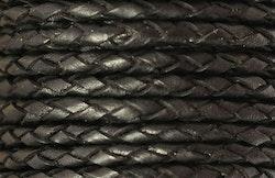 Flätat lädersnöre svart 3 mm, 1 m