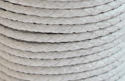 Flätat lädersnöre vit 3 mm, 1 m