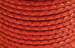Flätat lädersnöre orange 3 mm, 1 m