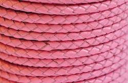 Flätat lädersnöre rosa 3 mm, 1 m