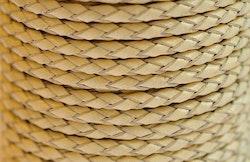 Flätat lädersnöre beige 3 mm, 1 m
