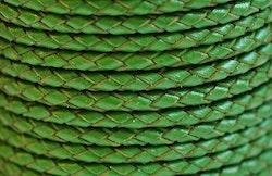 Flätat lädersnöre grönt 3 mm, 1 m