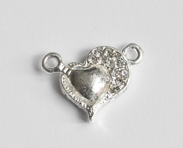 Silverfärgat magnetlås strasshjärta, 1 st