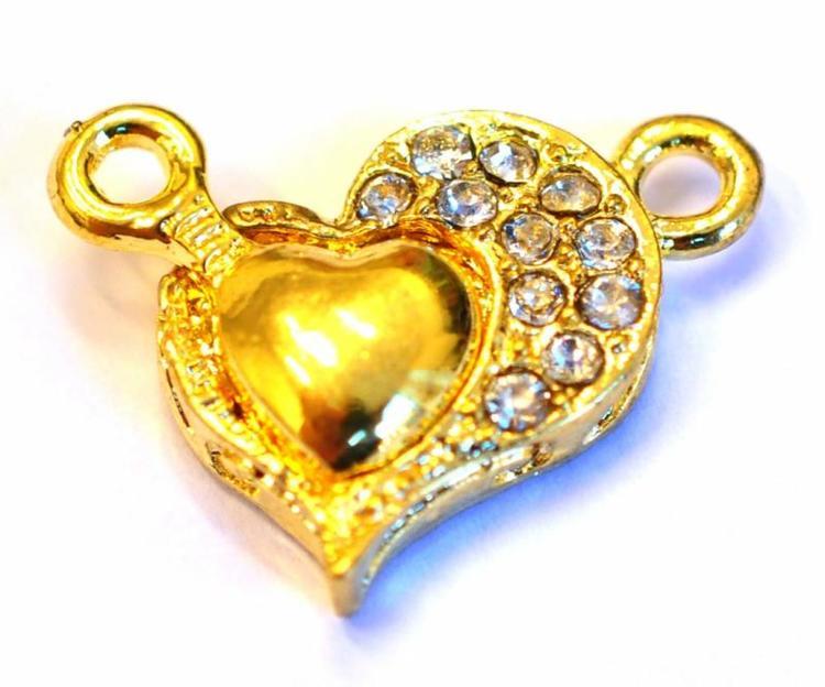 Guldfärgat magnetlås strasshjärta, 1 st