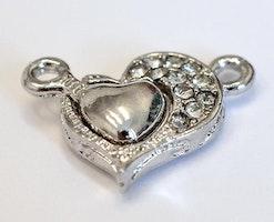 Antikfärgat magnetlås strasshjärta, 1 st