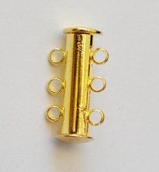 Guldfärgat lås 3 radig, 1 st
