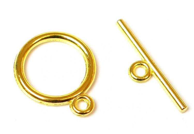 Guldfärgade stavlås 15 mm, 10 st
