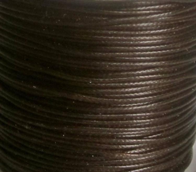 Vaxad bomullstråd, 1.5 mm mörkbrun, 10 m