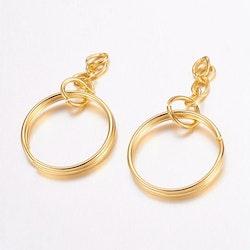 Guldfärgad nyckelring, 10 st