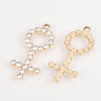 Ljust guldfärgat hänge med strass, kvinnosymbol, 1 st