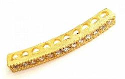 Guldfärgad strassbåge smal, 1 st