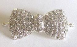 Silverfärgad strassconnector rosett, 1 st