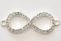 Silverfärgad strassconnector, Infinity, 1 st