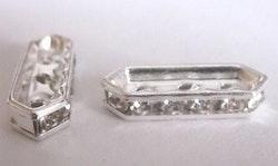 Silverfärgad strassdel 3-hål, 10 st
